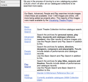 University of Bristol Theatre Collection catalogue search screengrab