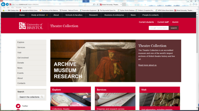 University of Bristol Theatre Collection website screengrab